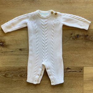 Cream Cable Knit Long Sleeve Bodysuit NB